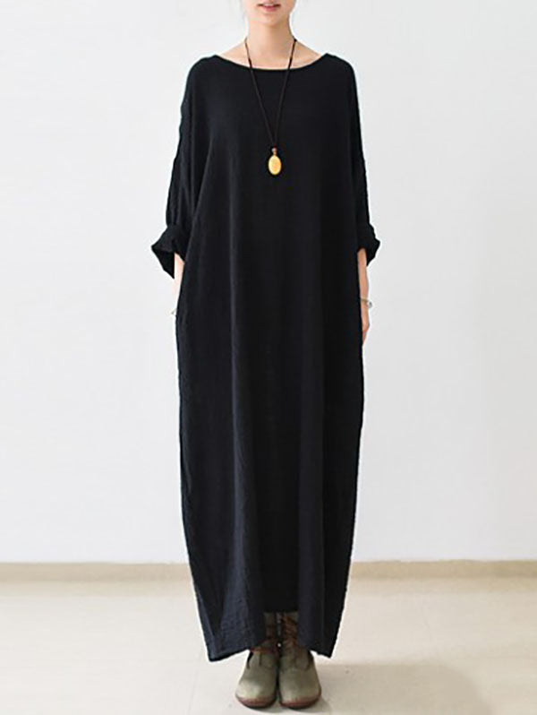Thin Black Ramie Long Sleeve Caftans Long Dress