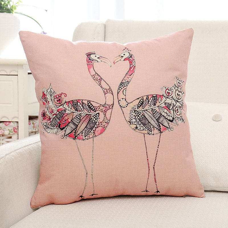 Leaves & Birds Printed Pillow Case