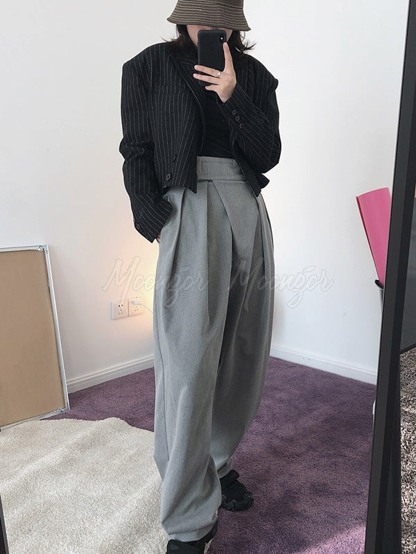 Loose Empire Pleated Radish Pants