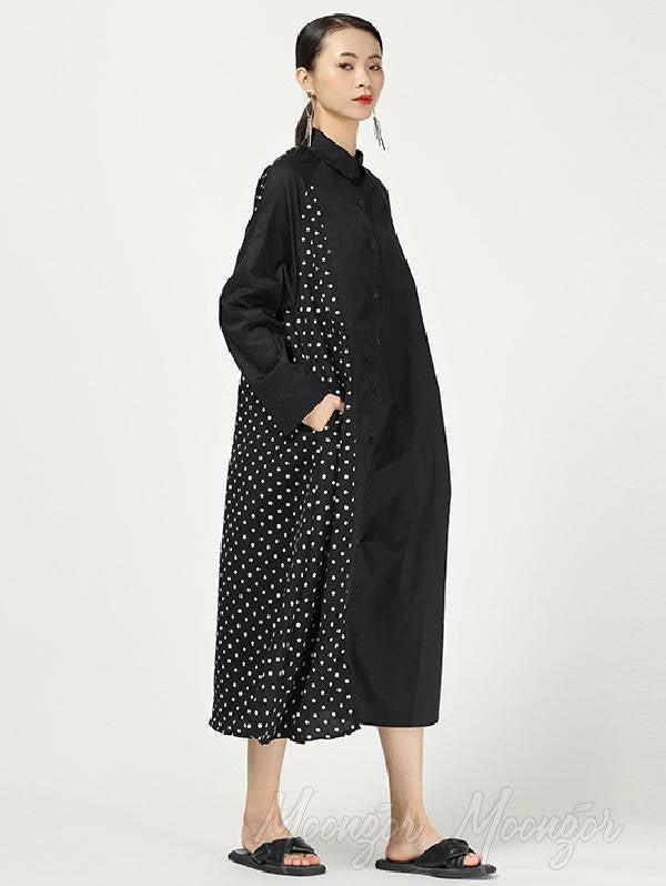 Stripe Cropped Splicing Polka Dot Shirt Midi Dress