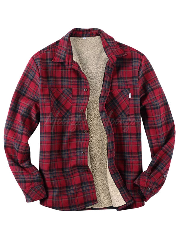 Men's Long Sleeves Plaid Winter Retro Shirt