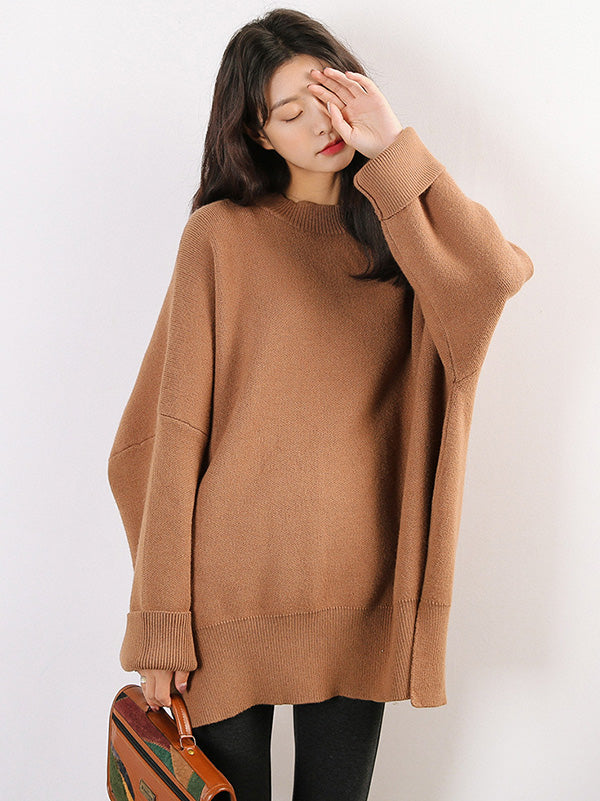 Knitting Solid Loose Split-side Long SWeater
