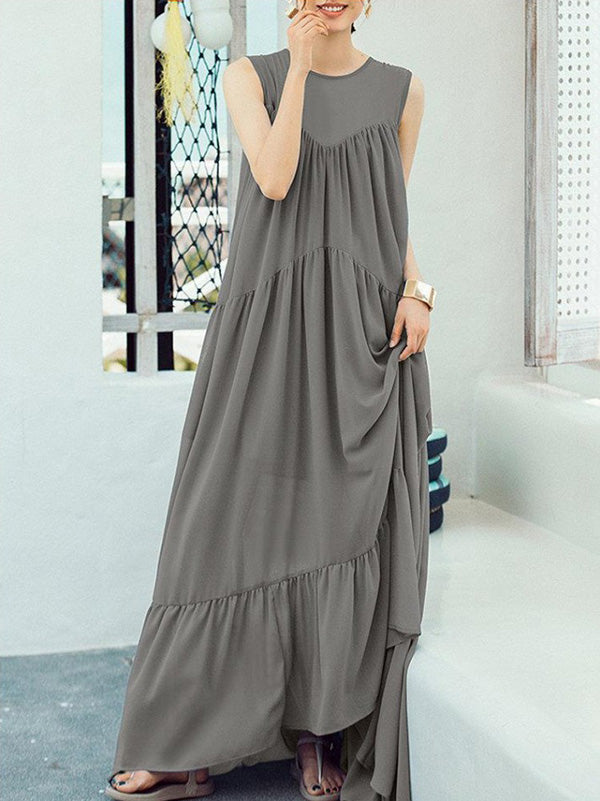Gray Split-joint Ruffled Sleeveless Maxi Dress