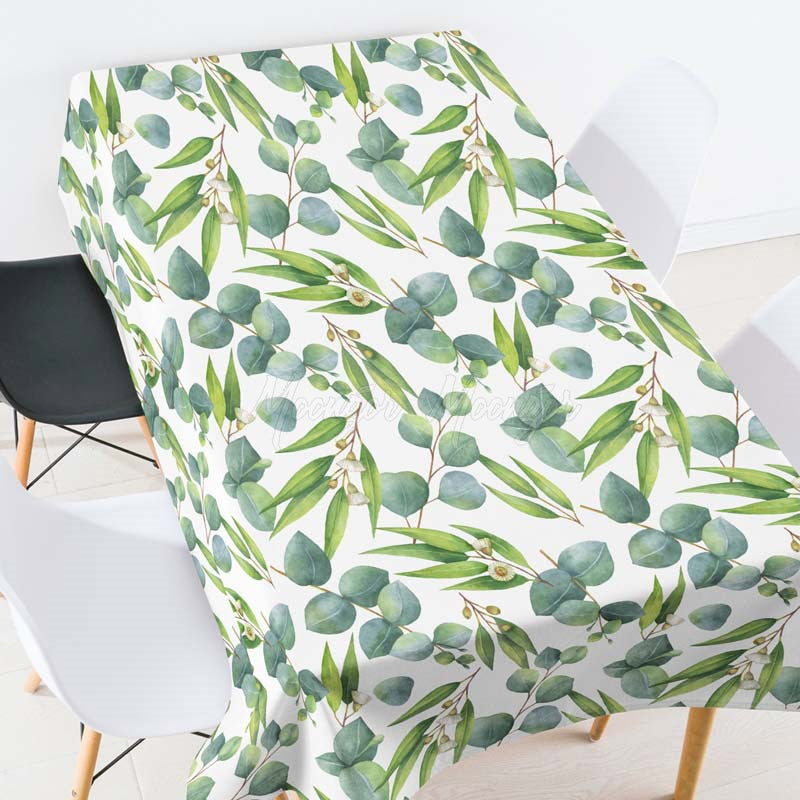 Green Leaves Printed Tablecloth