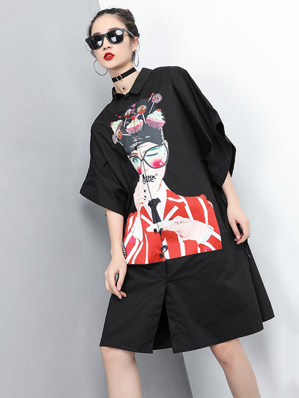 Loose Picture Printed Long Shirt Dress