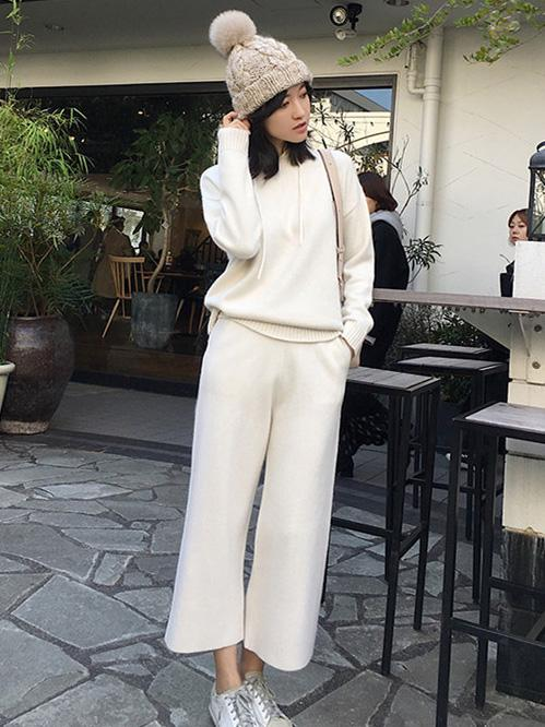 Soft Knitting Spun With-hat Sweater + Wide Leg Pants Suits