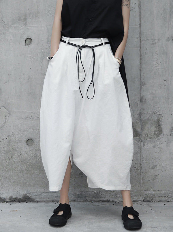 Loose White Linen Split-side Harem Pants
