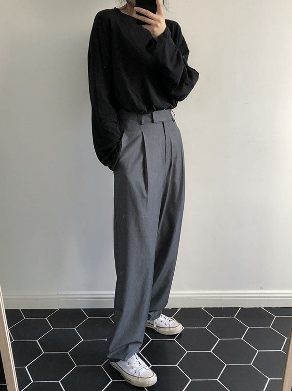Comfortable Loose Grey Empire Suit Pants