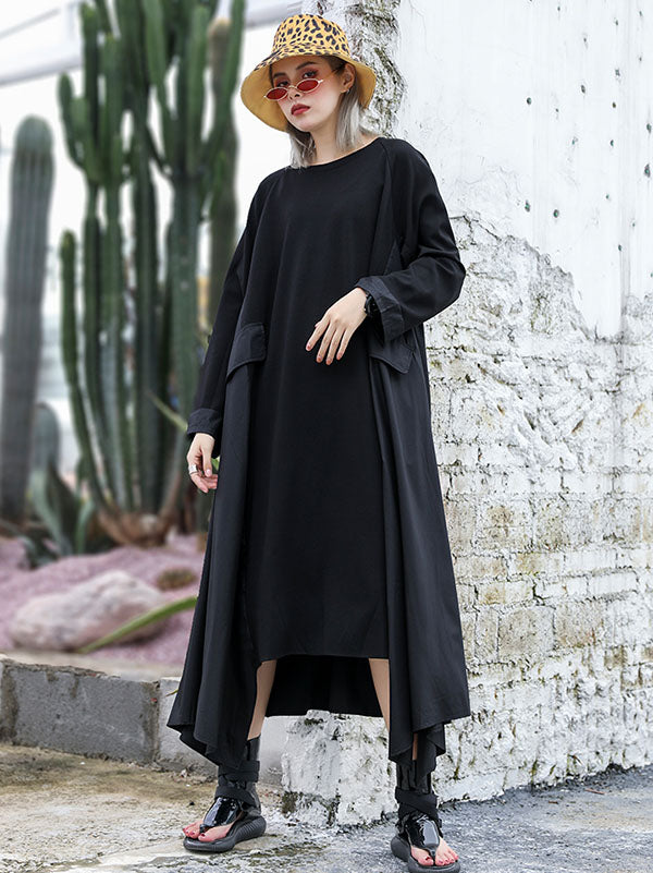 Loose A-line Cropped Long Dress