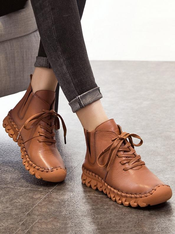 Solid Color Genuine leather Booties