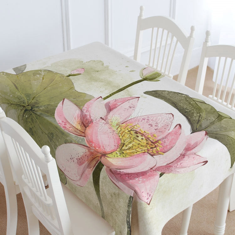 Lotus Flower Casual Printed Tablecloth