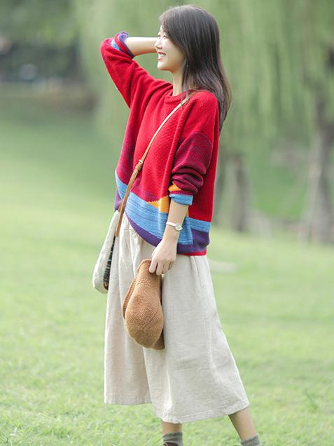 Colorful Split-joint Sweater