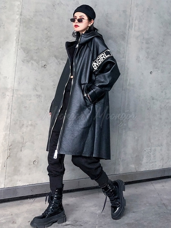Loose Padded Leather Coat