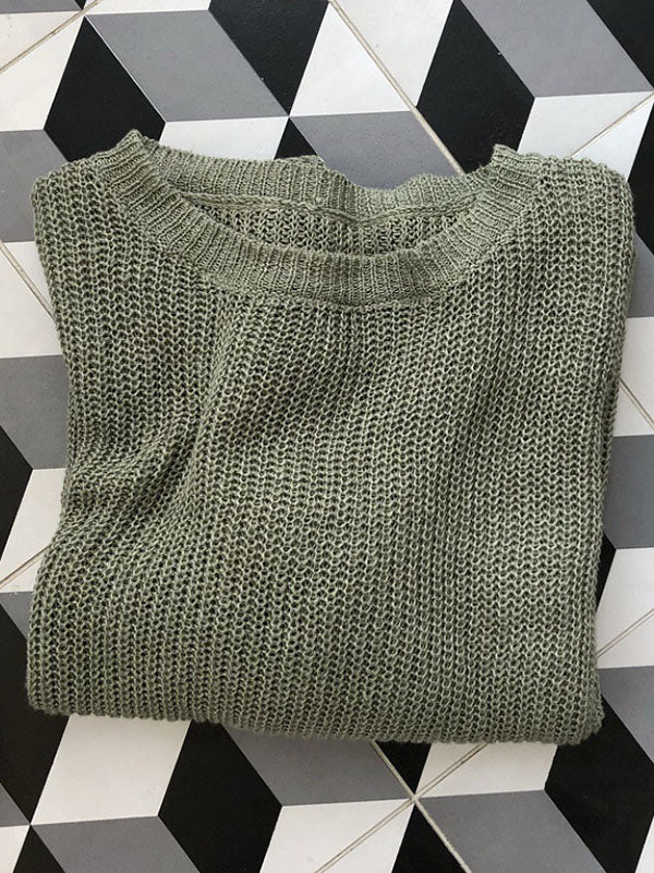 Solid Ramie Cotton See-through Knitting Sweater Tops