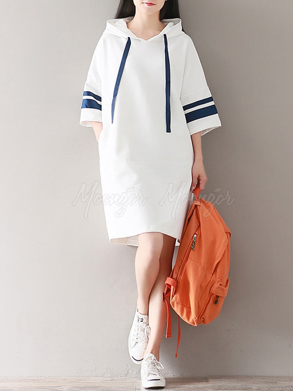 Casual Split-joint Hoodie Sweatshirt Dress