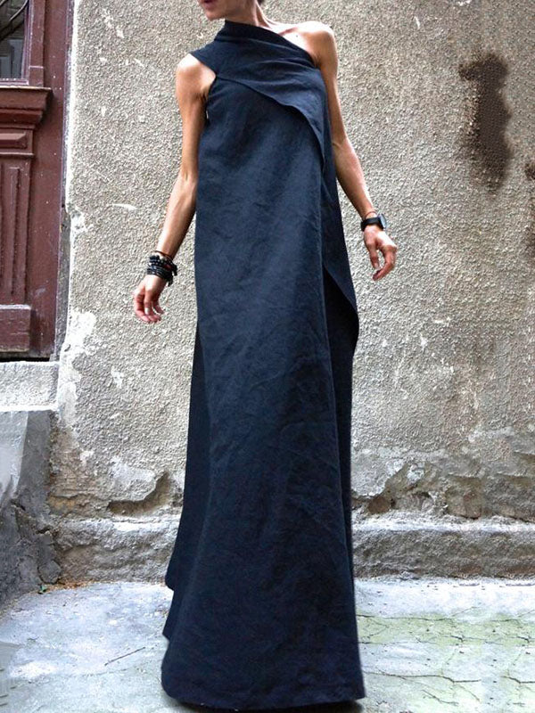 Navy Blue Split-joint Sleeveless Linen Dress