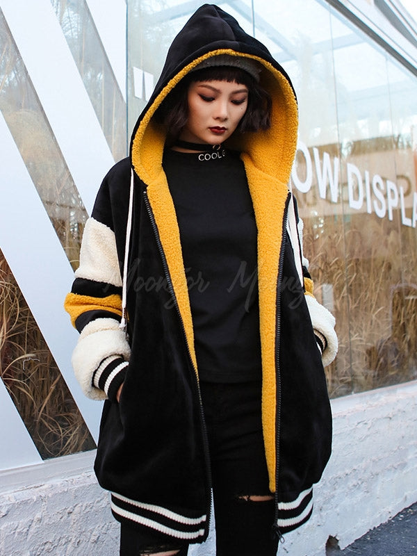 Contrast Color Velvet Hooded Coat