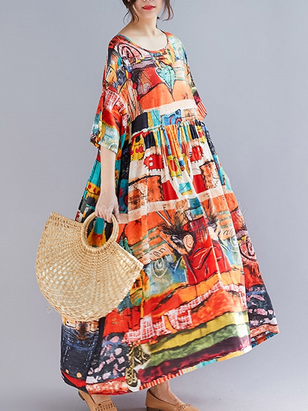Loose Floral Printed Hemline Maxi Dress