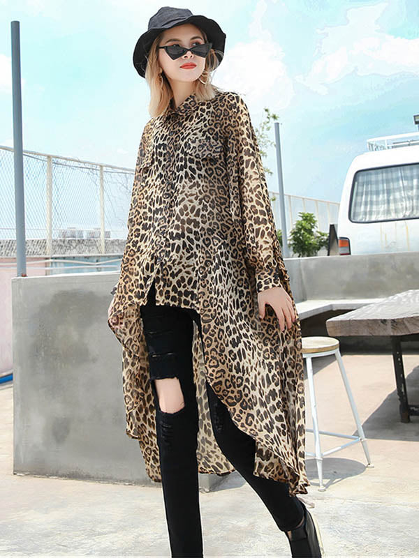 Leopard Chiffon Loose High-low Light Shirt Top
