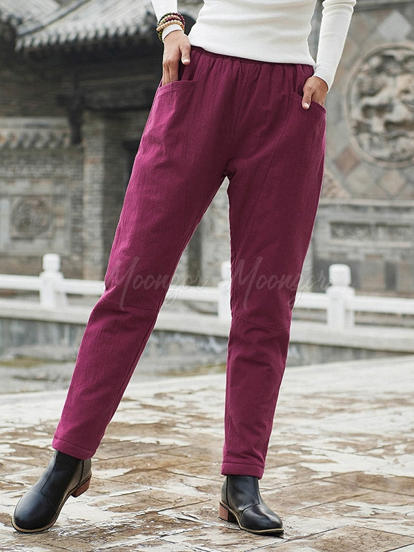 Vintage Casual Quilted Stitching Pants