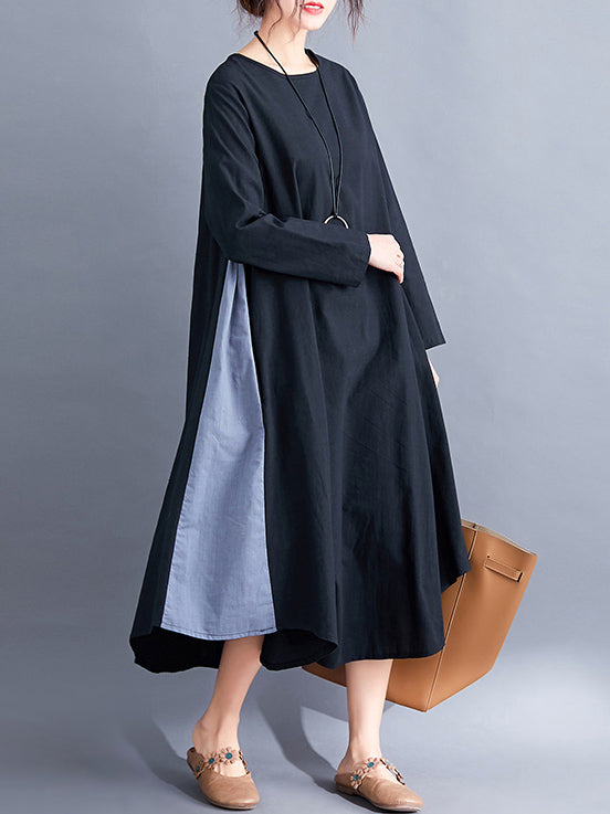 Loose Simple Black Split-joint Round-neck Long Dress