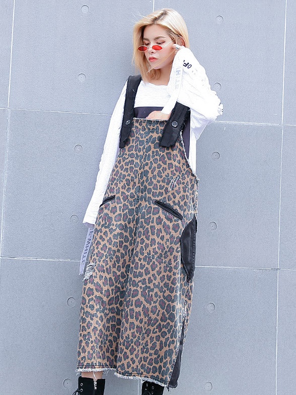 Loose Leopard Braces Dress