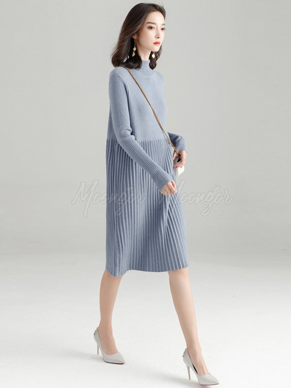 Splicing Pleated Solid Color Knitting Sweater Dress