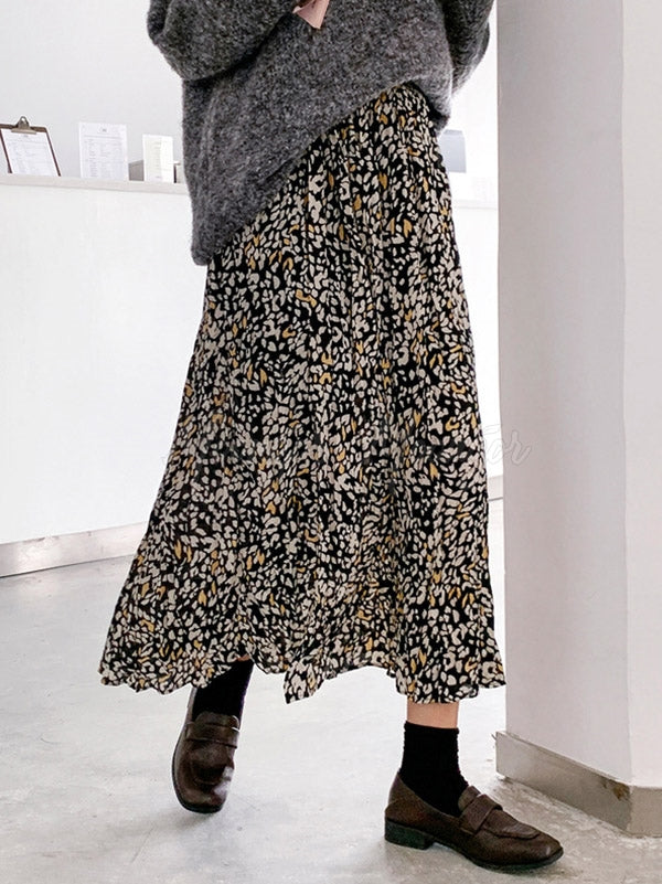 Casual Chiffon Floral A-Line Skirts