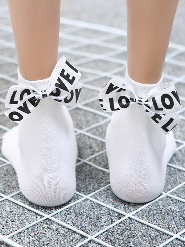 Tide Letter Bow Decoration Socks