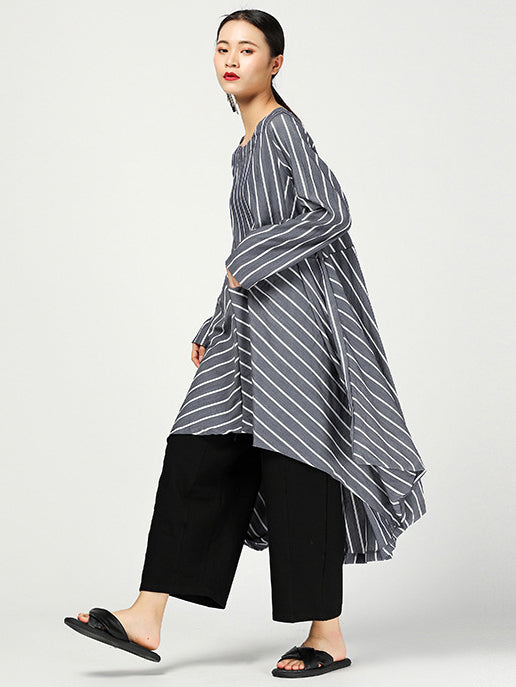 Loose Striped Split-joint High-low Original Dress