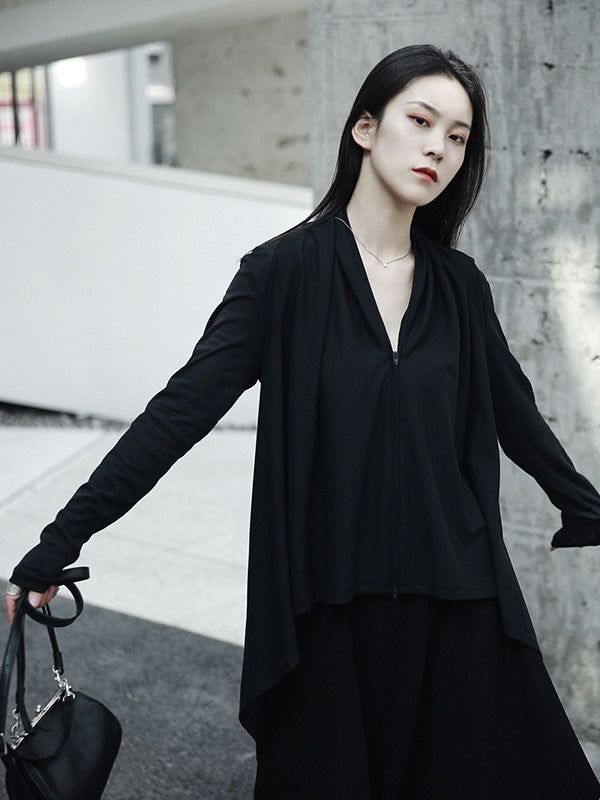 Black High-low Jacket Outwear