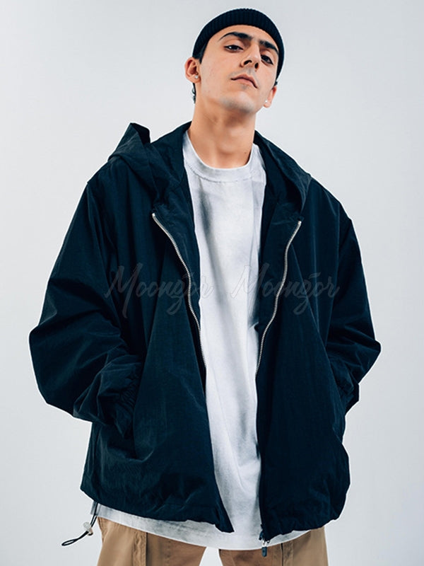 Men Plain Letter Printed Windbreaker Jacket Coat