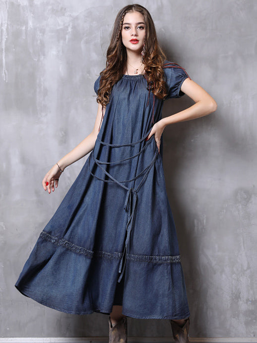 Simple Strap Loose Denim Midi Dresses