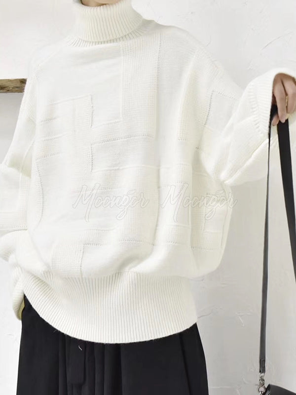 Loose High-Neck Comfortable Pure Color Sweater
