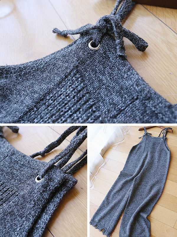 Empire Knitting Sleeveless Fringed Jumpsuit