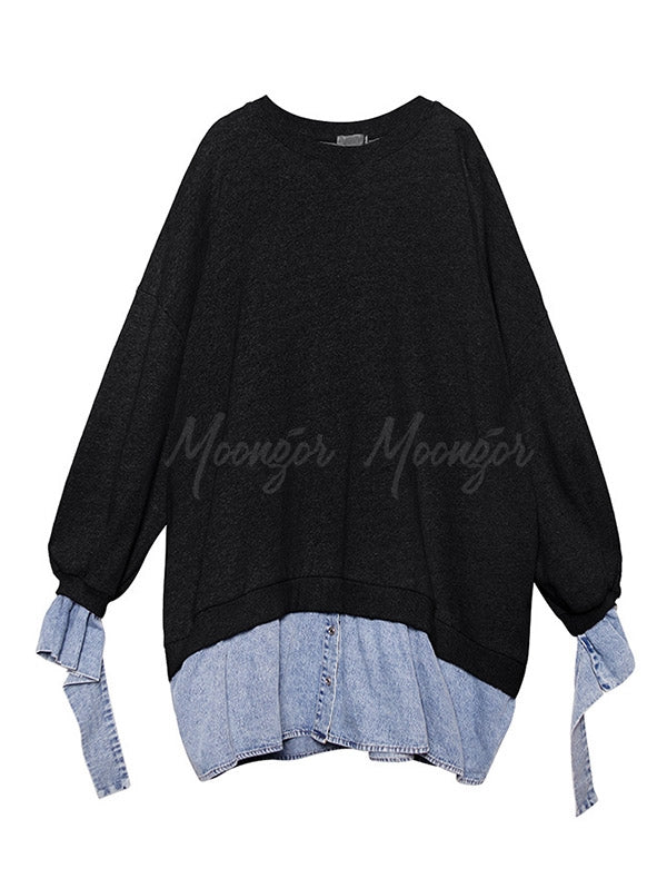 Loose False Two Jean Splicing Round Neck Sweatshirt