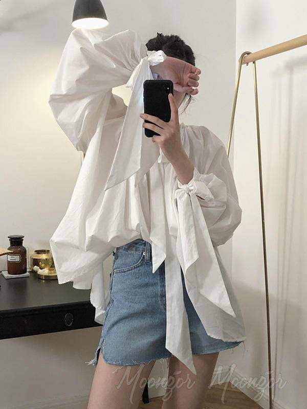 Vintage White Loose Puff Sleeve Shirt