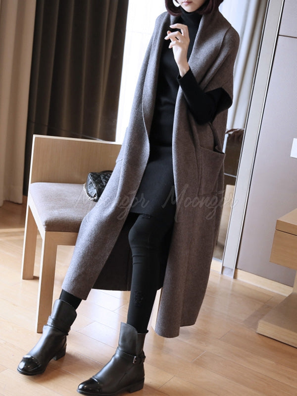 Elegant Casual Batwing Long  Knitting Outwears