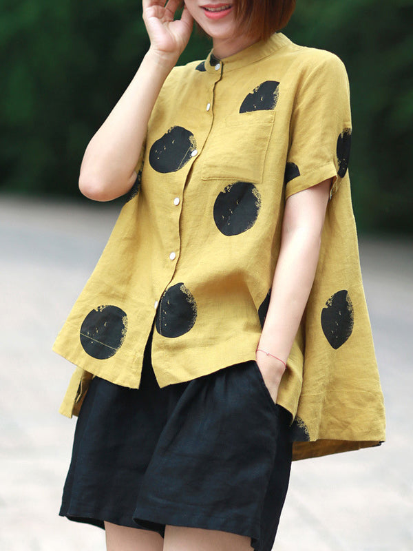 Loose A-line Polka-dot T-shirt