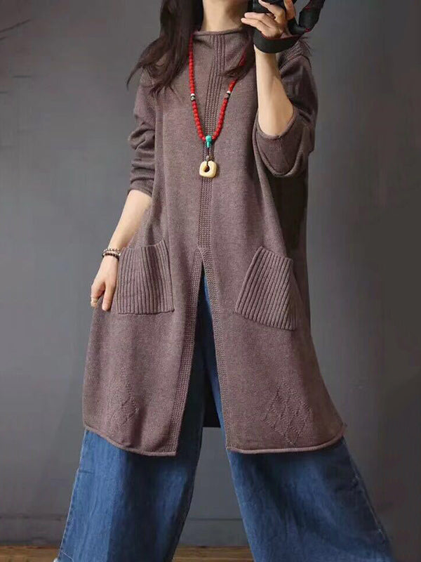Solid Vintage Knitted Long Sweater Dresses