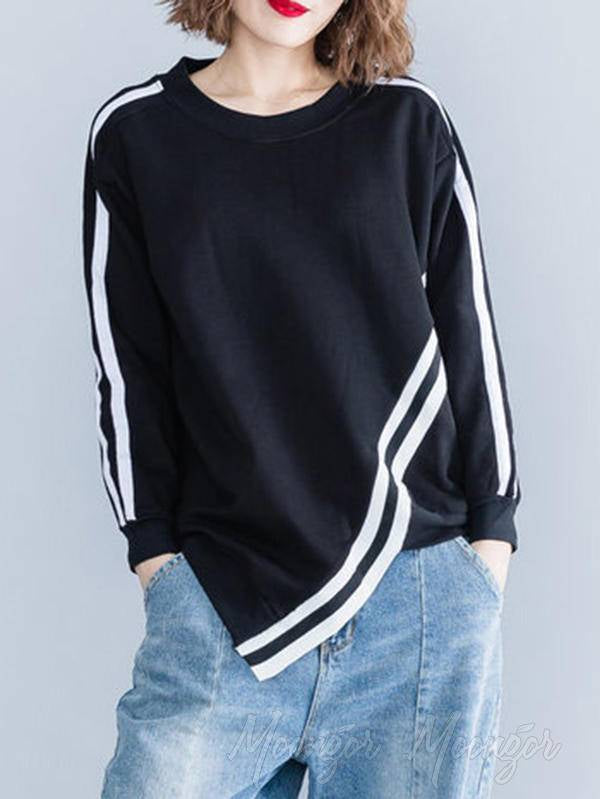 Loose Stripes Cropped Round Neck Sweatshirt