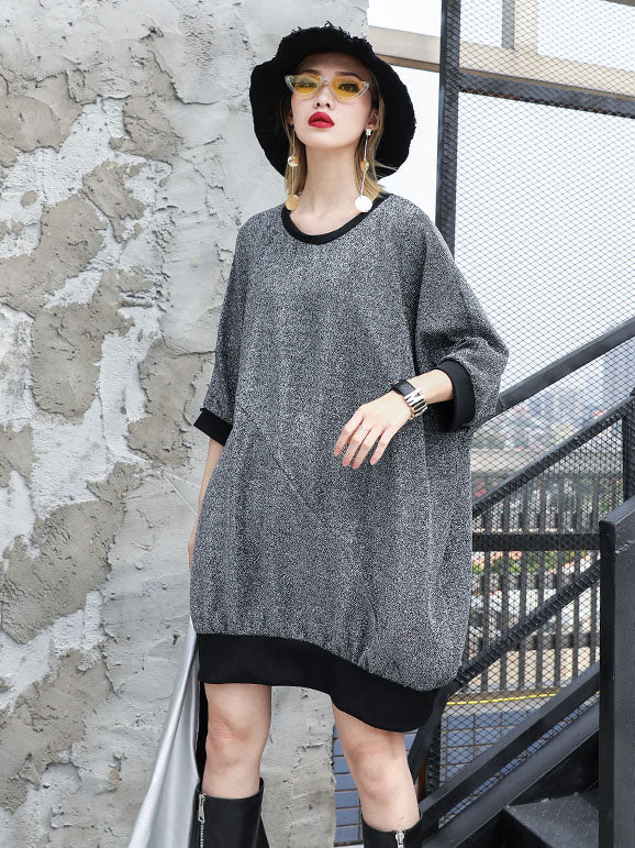 Loose Solid Batwing Sleeves Mini Dresses