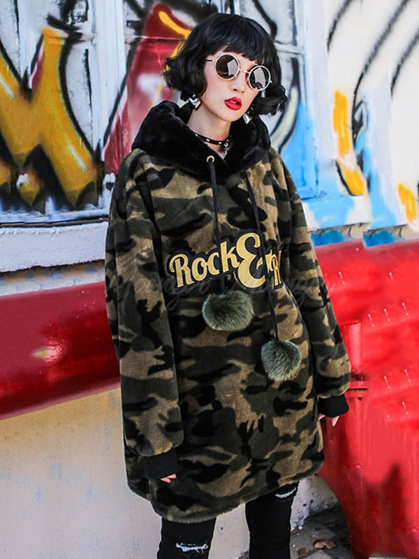 Camouflage Plush Casual Loose Hoodie