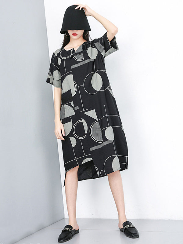 Irregular Printed Long Dress