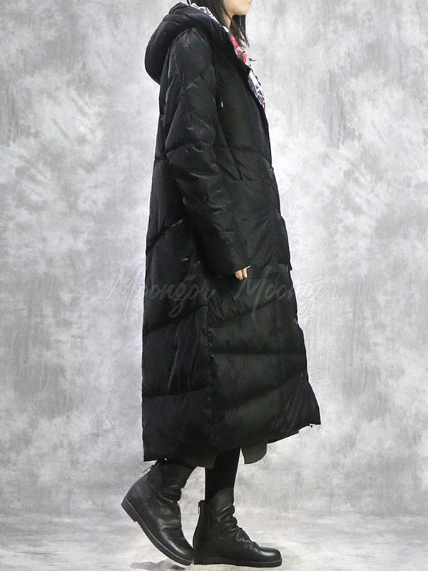 Solid Color Retro Reversible Padded Long Coat