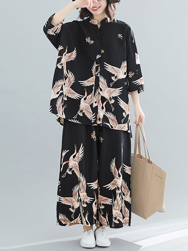 Plus Size Loose Printed Chiffon Suits