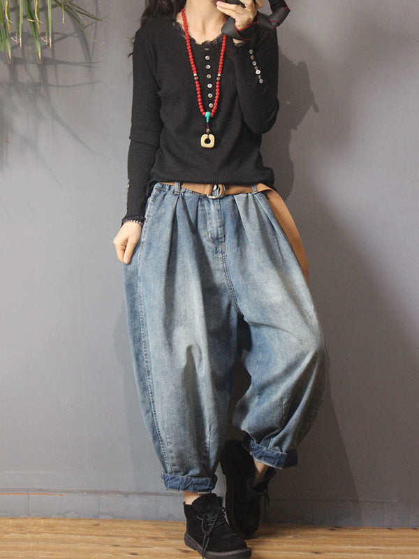 Vintage Denim Loose Elastic Waist Bloomers Pants