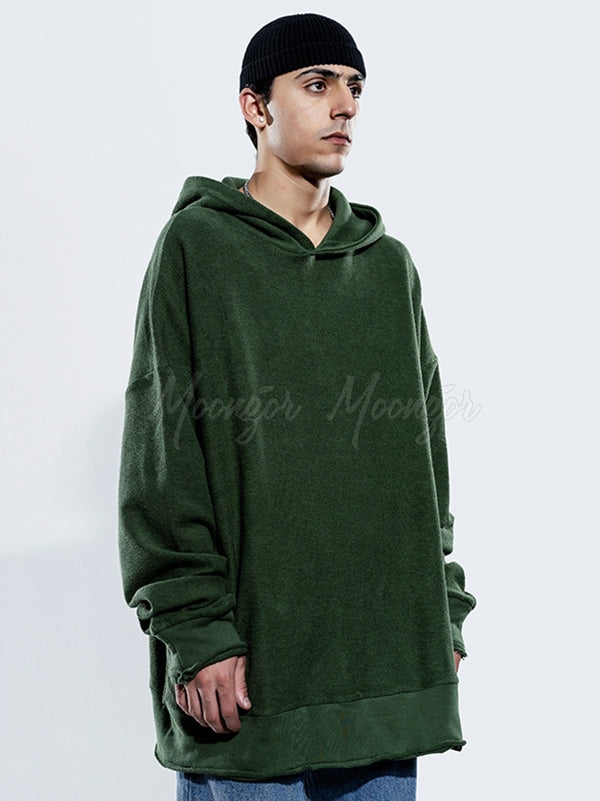 Men Loose Padded Plain Hoodie
