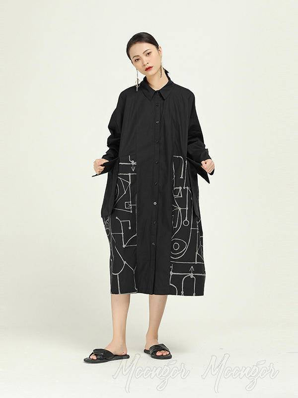 Loose Cropped Graffiti Print Splicing Shirt Dress
