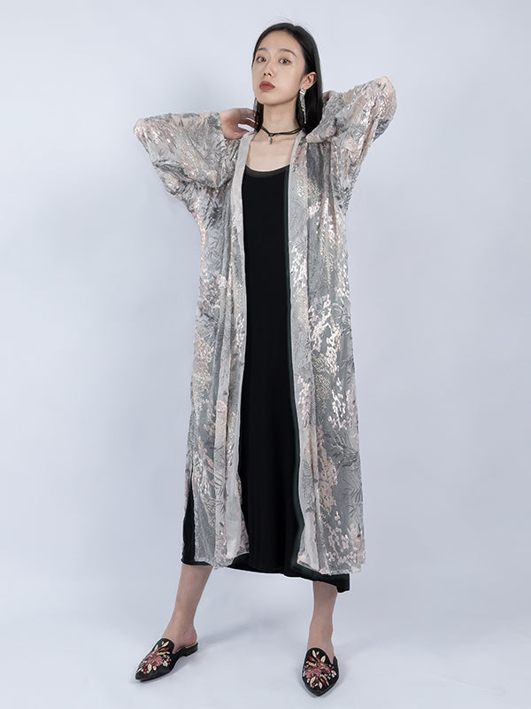 100% Silk Original Embroidered Long Sleeves Cover-up